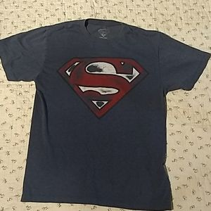 Gray, blue short sleeve tee shirt. Super man.